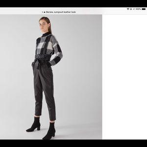 Bershka High Waisted Leather Look Jumpsuit NWOT